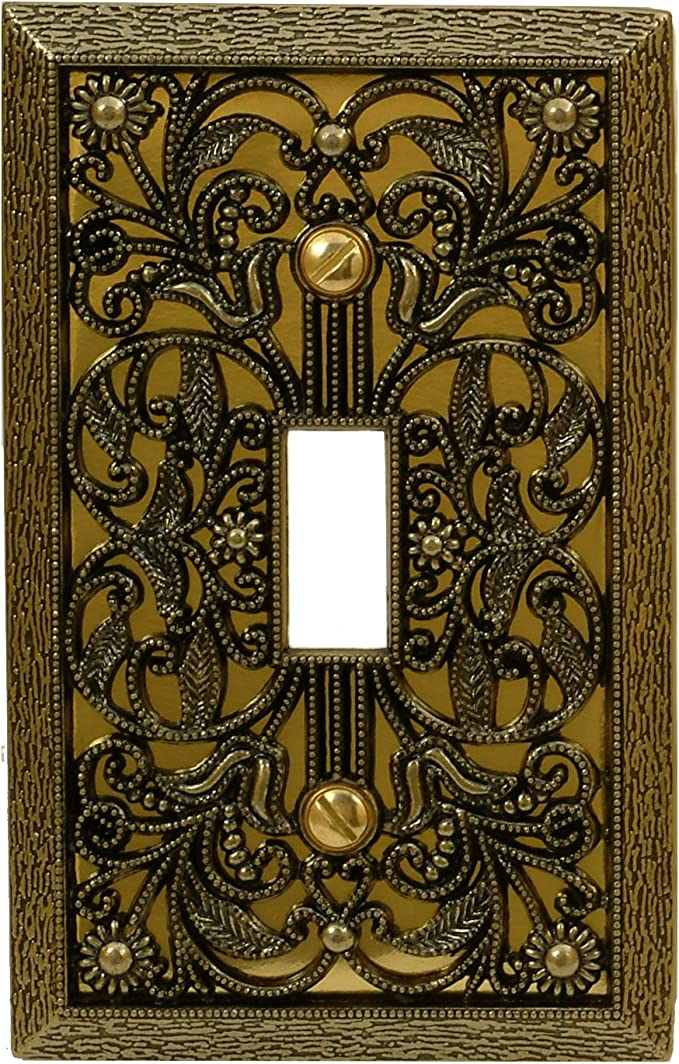 Wallplate 1Toggle 1Duplex Tuscan Antique Brass Solid Creative Accents 2006AB NEW