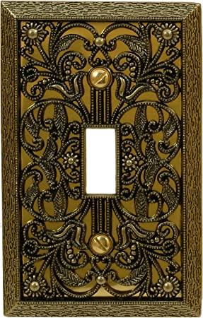 Amerelle 65tab Filigree Single Toggle Cast Metal Wallplate In Antique Brass 1 Toggle Switch Plates