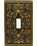 Amerelle 65TAB Filigree Cast Metal Toggle Wallplate, Antique Brass
