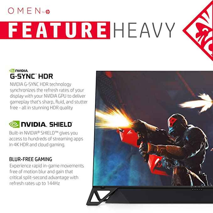 OMEN X by HP Emperium 65 inch 4K Big Format Gaming Display with NVIDIA  G-SYNC HDR-1000, 144Hz Refresh Rate, Soundbar Included, Built-In NVIDIA  Shield