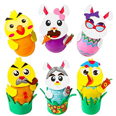 Ticiaga 20 Sets of Easter Egg Decorating Craft Kit, Including 10 Sheets Make-a-face Stickers and 180pcs Foam Stickers, Easter Bunny and Chick Foam Ornament Stickers for Egg Decor, DIY Your Easter Egg: Toys & Games [5Bkhe0506561]