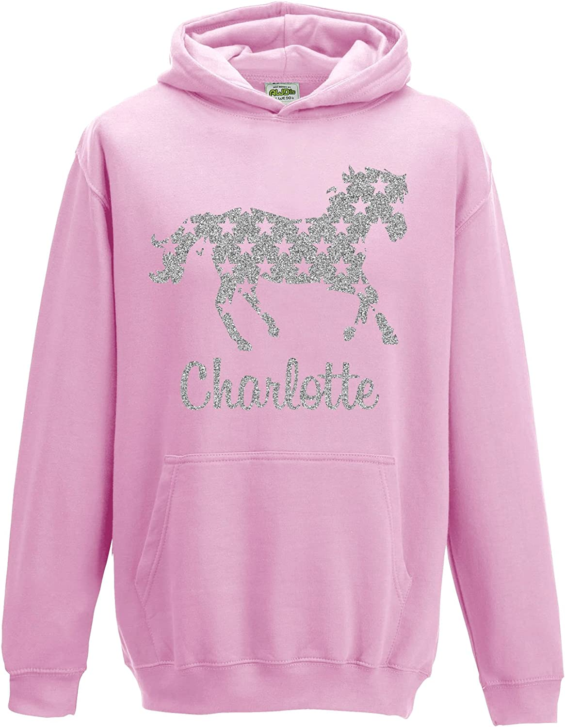 Personalised Horse Pony Riding Children/'s Hoodie Jacket Any Name Christmas Gift
