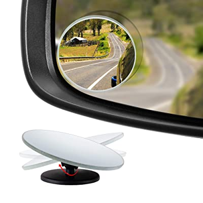 "Dependable Direct HD Frameless Blind Spot Mirror - Round 2"" Convex Glass Mirror - Two-Way Design (Fixed and 360° Adjustable Angle Use) - Rear View - Pack of 2: Automotive"