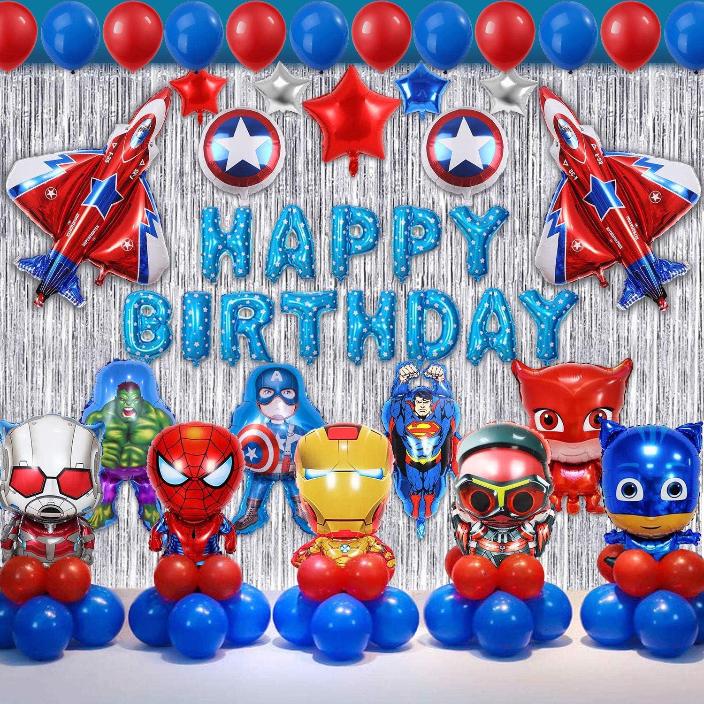 smileh Decoration Anniversaire Super Hero Avengers Decoration Ballon Super H/éros Banni/ère de Joyeux Anniversaire Super-h/éros Deco Super Heros