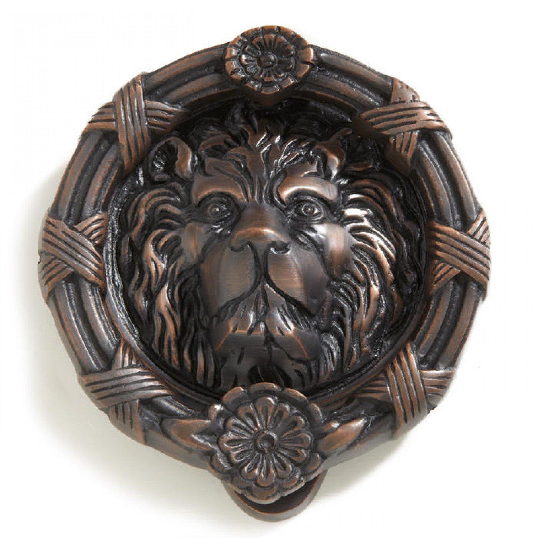 Casa Hardware Lion Head Brass Door Knocker in Oil Rubbed Bronze Finish