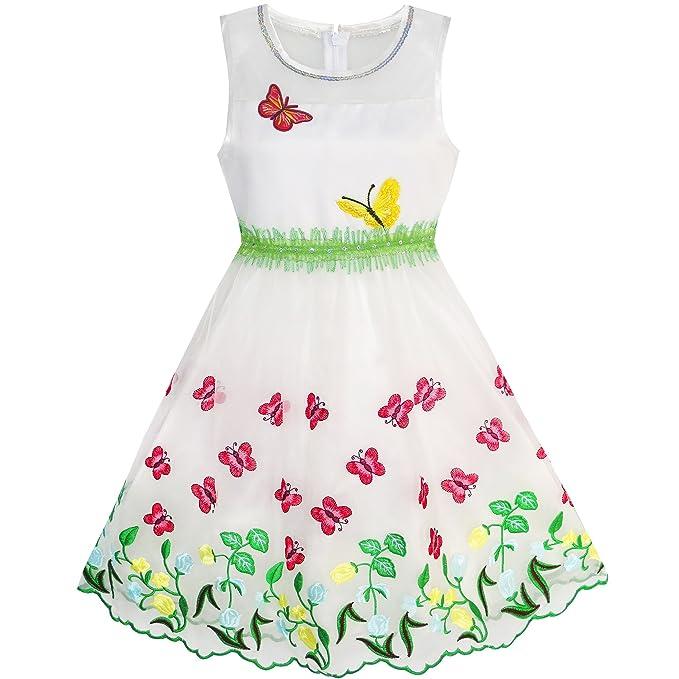 KC95 Sunny Fashion Vestido para niña Mariposa Fiesta Cumpleaños Sol 10 años