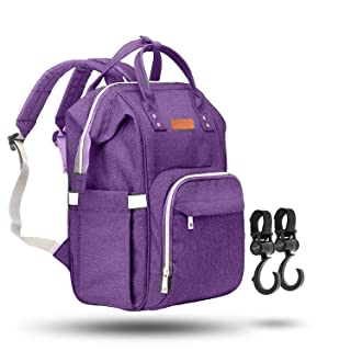 ZUZURO Diaper Bag Backpack - Waterproof w/Large Capacity & Multiple Pockets for Organization. Ideal for Travel Nappy Bags - W/Insulated Bottle Pocket. 2 Stroller Hooks Incl. (PURPLE)