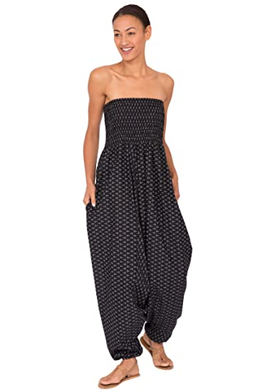 3f182d9df001 likemary Harem Jumpsuit and Hareem Pants Convertible 2 in 1 Cotton Bandeau  Printed Romper Black Fleurs