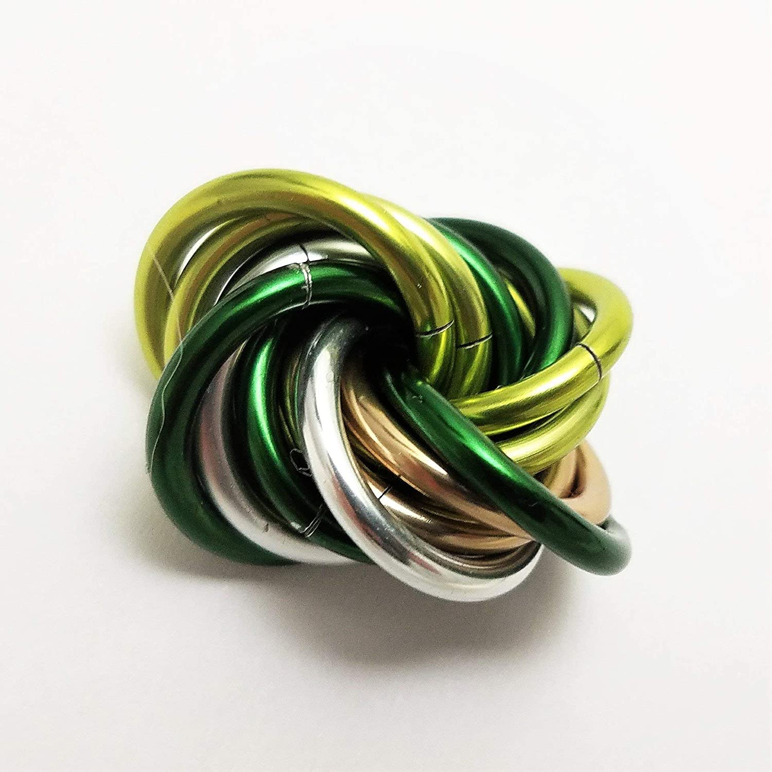 Möbii Shamrock: Small Mobius Hand Fidget Toy, Shiny Emerald Green and Silver Stress Ball for Restless Hands, Office Toy