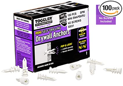 TOGGLER SnapSkru SPM Mini Self-Drilling Drywall Anchor, Glass-Filled Nylon, Made in US, For #6 to #8 Fastener Sizes (Pack of 100)