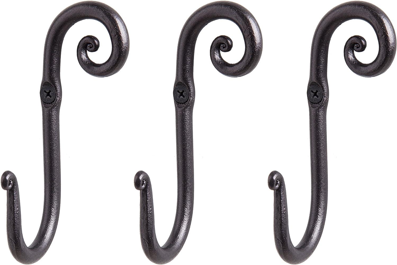 Decorative Stylish Wall Mounted Hooks, 3 Handmade Wrought Iron Right Swirl Hangers for Coat, Hat, Jacket, Robe, Bath Towel | Mug Hooks | Black Scroll Hangers | Handcrafted by RTZEN-Décor