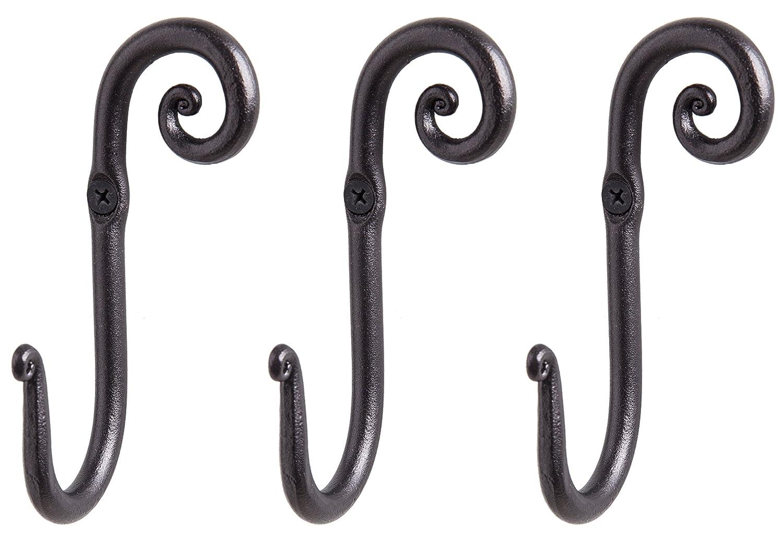 Amazon.com: Perchero ganchos | 3 hecho a mano derecha Swirl ...