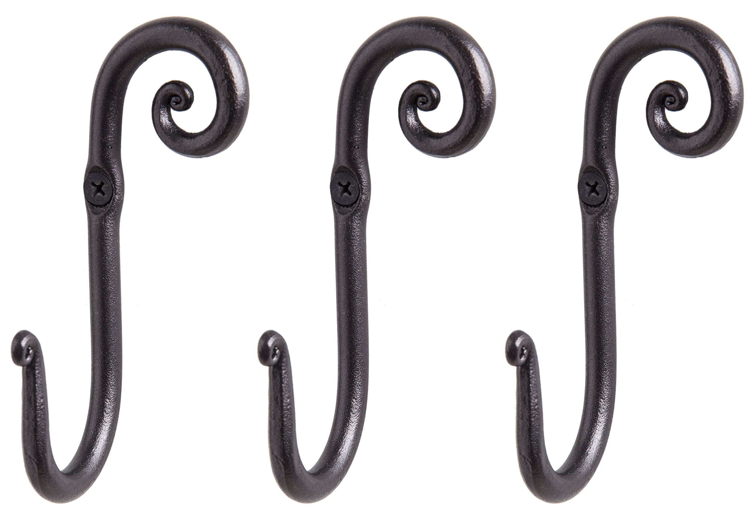 RTZEN Blacksmith Handmade Decorative Wrought Iron Wall Mounted hook Right Swirl Clothes Rack Hooks Hangers | by Décor