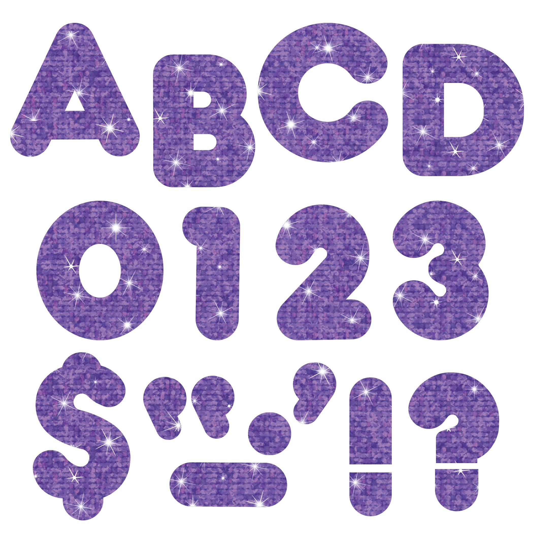 TREND enterprises, Inc. T-79012BN Purple Sparkle 3'' Casual Uppercase Ready Letters, 6 Packs by TREND Enterprises