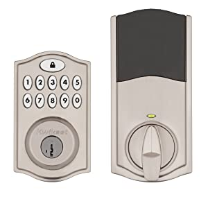 Kwikset SmartCode 914 Keypad Smart Lock (Amazon Key Edition – Amazon Cloud Cam required), Compatible with Alexa, featuring SmartKey in Satin Nickel