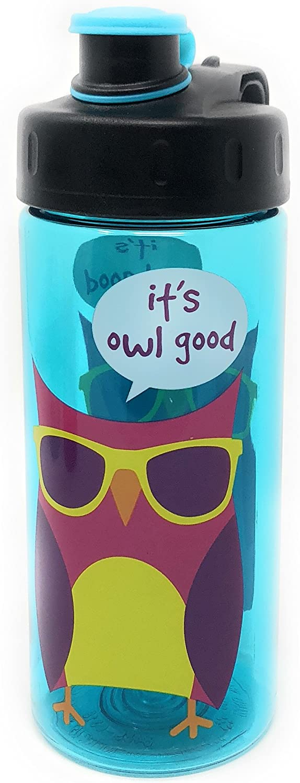 Cool Gear Owl Plastic Water Bottle green kids fun 16 oz BPAfree