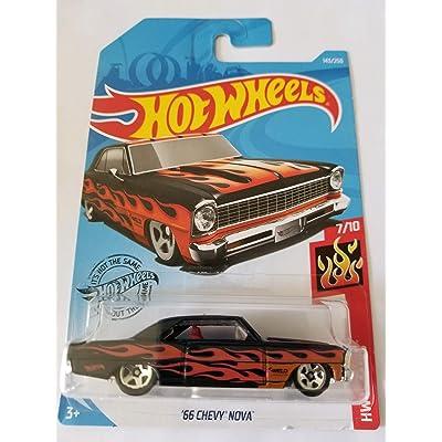 Hot Wheels 2020 Hw Flames - '66 Chevy Nova, Black 143/250: Toys & Games