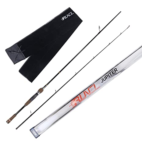 RUNCL Spinning Rods 2 Piece, Spinning Fishing Pole Carbon Fiber - Stainless  Steel Guides/Inserts, Anti-Winding Tip, Hook Holder, Ergonomic Cork Handle