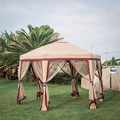 Kinbor Outdoor Canopy Gazebo Tent Shelter Garden Lawn Patio with Mosquito Netting Pop Up Gazebo Shade for Patio Outdoor Garden Events : Garden & Outdoor