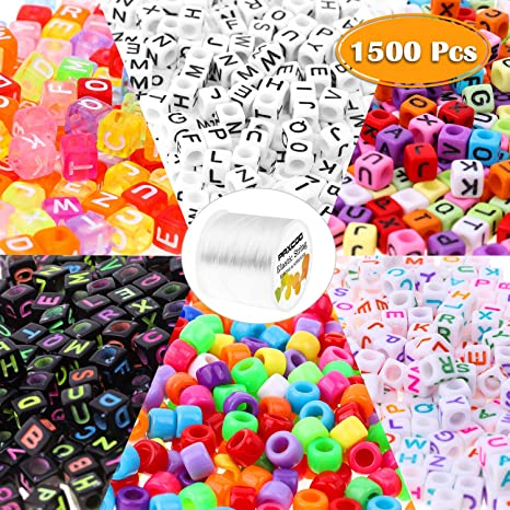 Pony Beads for Bracelets Cridoz Bead Bracelet Making Kit Include 24 Colors Pastel Pony Beads and Letter Beads Round for Bracelets Jewelry Making