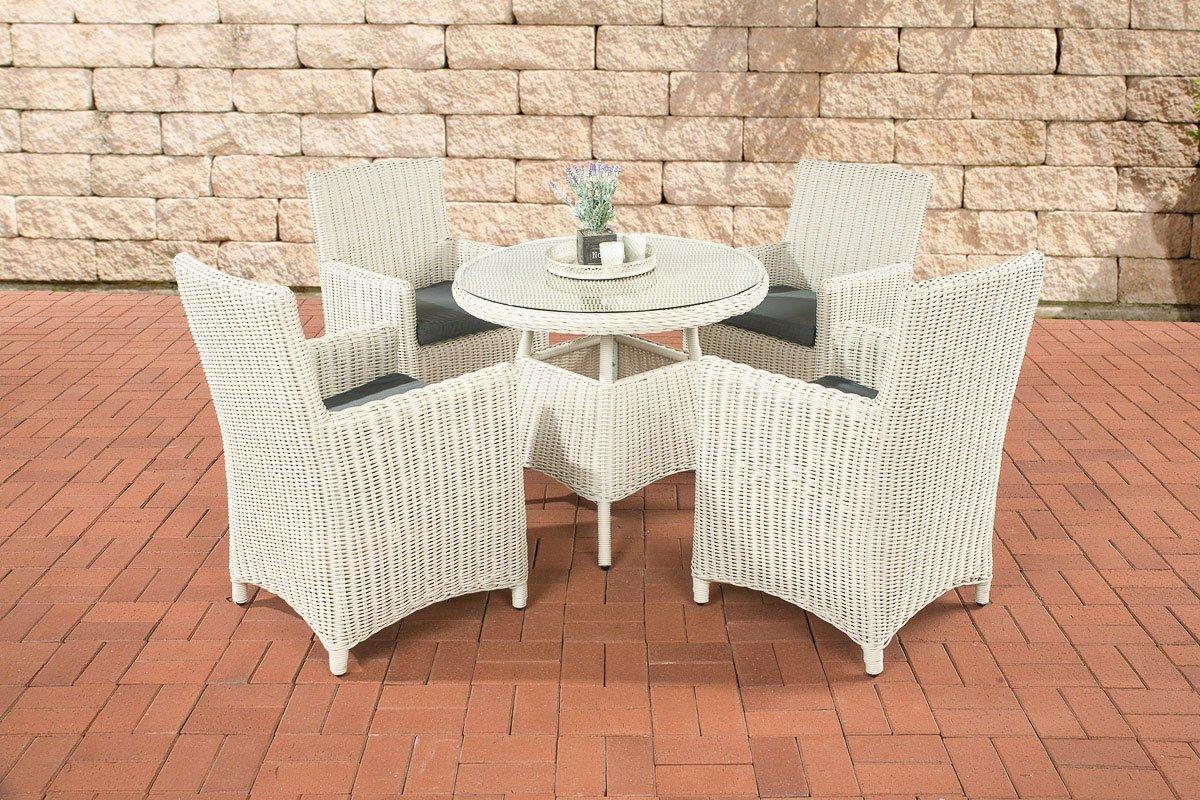 CLP Poly-Rattan Sitzgruppe CASOLI, 4 Stühle mit Tisch 90 x 90 cm, Premiumqualität: 5 mm RUND-Geflecht Bezugfarbe: eisengrau, Rattan Farbe: perlweiß
