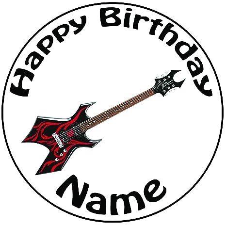 Cubierta de pastel personalizada con guitarra eléctrica, glaseado pre cortado ...
