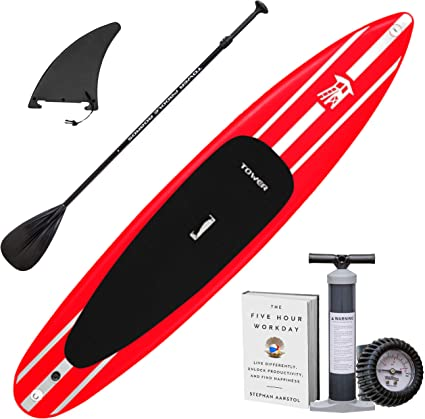 """Tower iRace Inflatable 126"""" Stand Up Paddle Board - (6 Inches Thick) - Universal SUP Wide Stance - Premium SUP Bundle (Pump & Adjustable Paddle ..."""