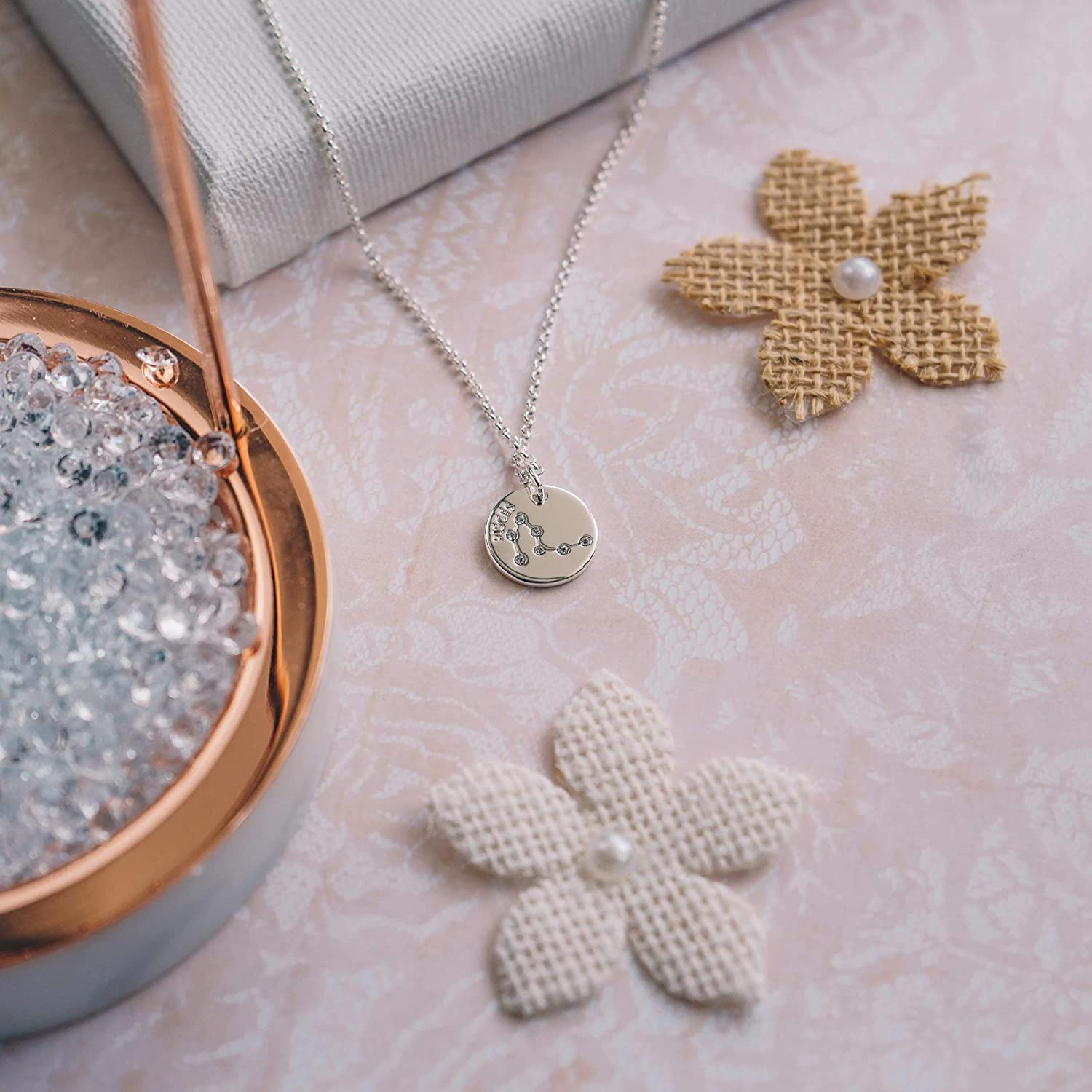 Philip Jones Pisces Starsign Disc Necklace Created with Austrian Crystals