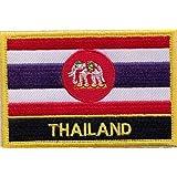 1000Flaggen THAILAND Flagge Elefant Variante bestickt rechteckig Patch Badge/Nähen auf oder Bügeln auf–Exklusives Design von