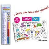 Color Roll, rollo adhesivo para colorear y recortar, con 6 ceras, 120 dibujos