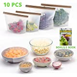 FutureUses® - Reusable Food Storage - 4 Silicone Food Bags + 6 Silicone Stretch Lids - Zero Waste - Ziplock Bags - Eco Friendly - Environmentally Friendly - Bowl Covers - Preservation