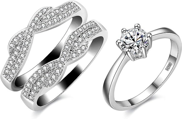 Epinki Fashion Jewellry Platinum Plated Womens Wedding Ring Cubic Zirconia White Gold