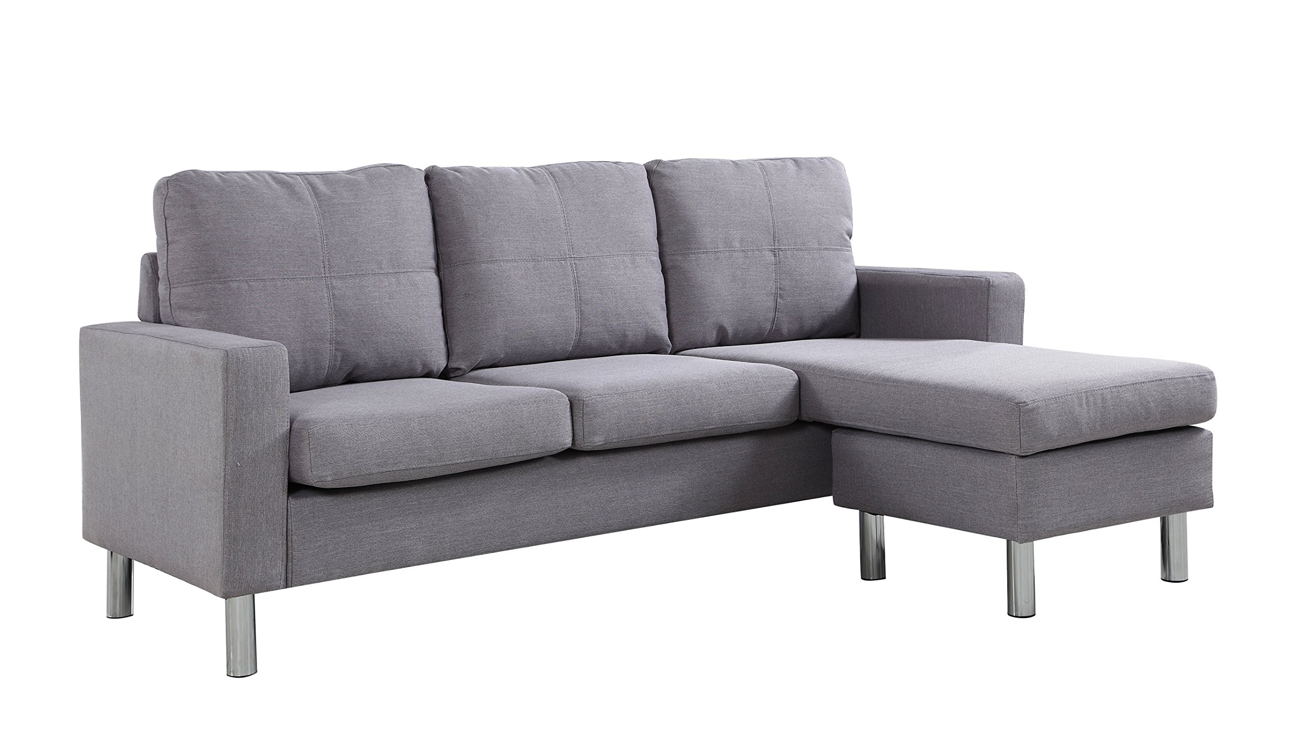 Moderne Livinf EXP16-LGR Modern Living Reversible Linen Fabric Sectional Sofa, Light Grey -  - sofas-couches, living-room-furniture, living-room - 81FuOnCrNxL -