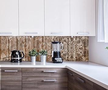 wandmotiv24 Cocina Pared Trasera Pared de Madera con Mandalas Design M0722 180 x 50 cm (W ...