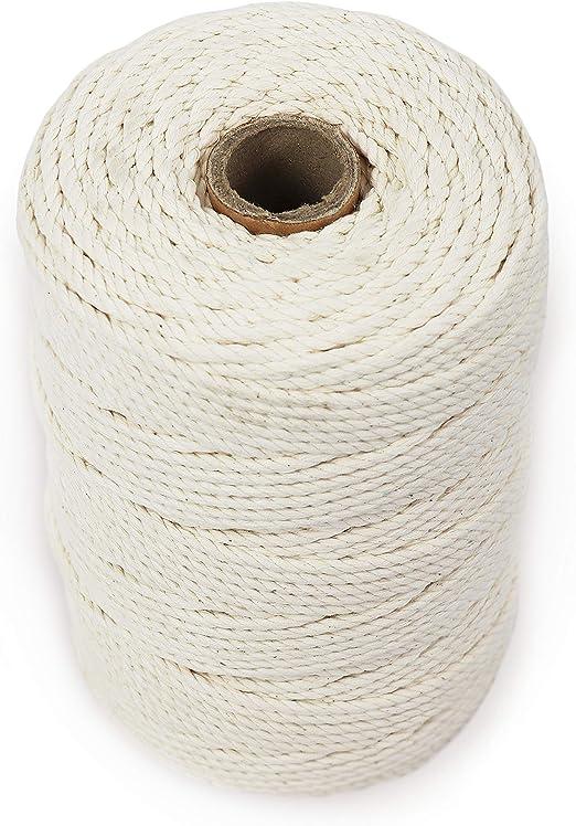 GRÜNTEK Cordel 100% algodón natural. Cuerda con 3 hilos macramé de 3 mm. Rollo de 100 m Blanco. Para jardinería, decoración, tarjetas de regalo: Amazon.es: Jardín