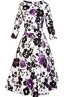 VOGTAGE 1950's Long Sleeve Retro Floral Vintage Dress with Defined Waist Design