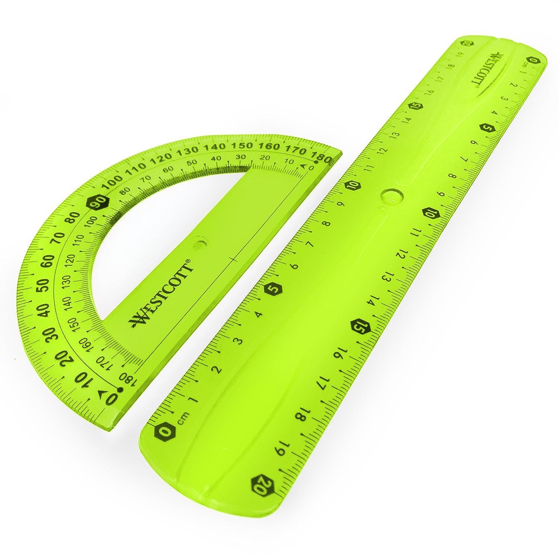 20/cm Lineal Westcott durchscheinend bruchsicher Lineal Flexi/ 2/Set Pl/ätze und Winkelmesser/ /Gr/ün /3-teiliges Set/ /inkl