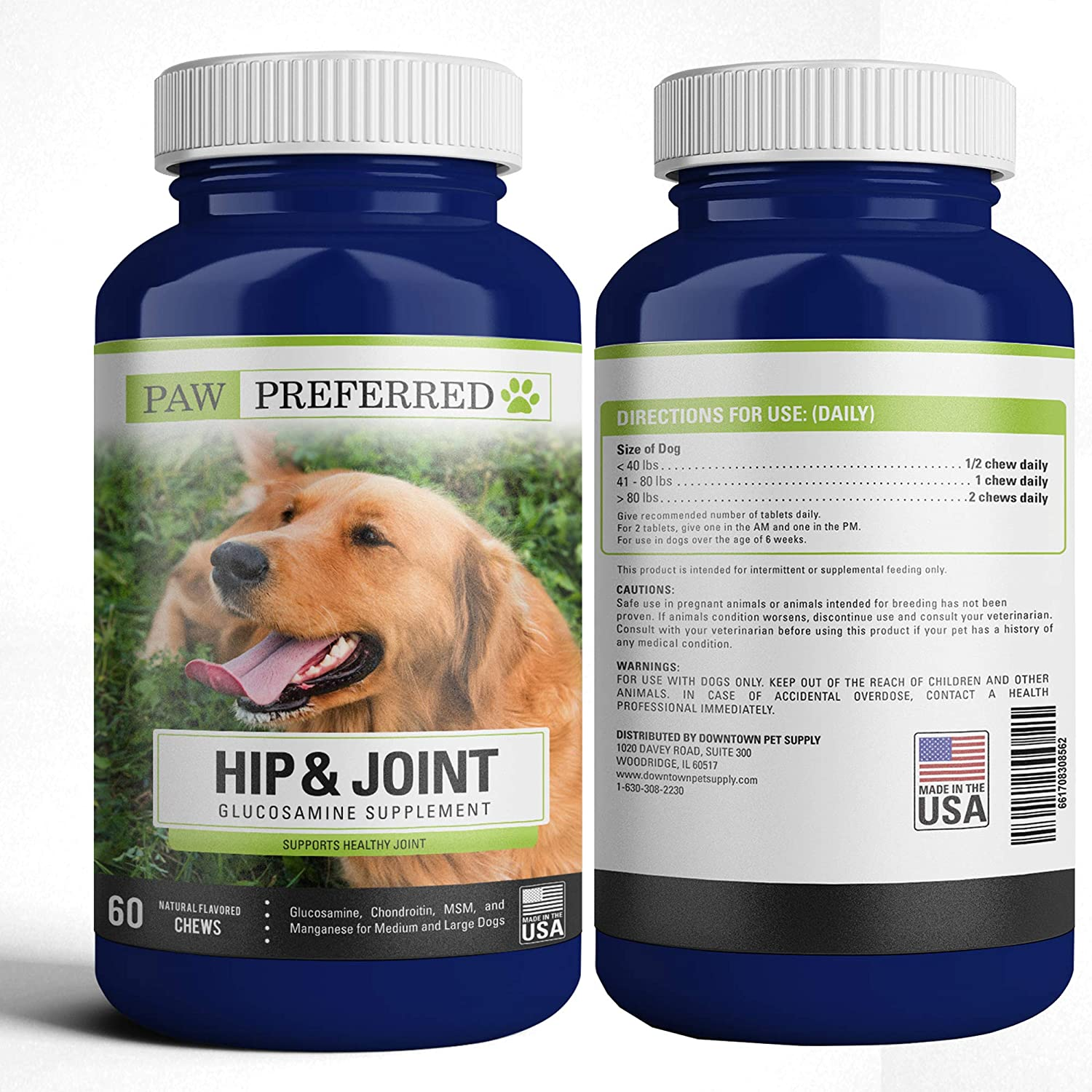 Downtown Pet Supply Premium Canine Glucosamine Chondroitin with MSM for Dogs, Great All Natural Beef Liver Chews Supplement for Hip and Joints, Safe and Made in USA (60 or 120 Count)