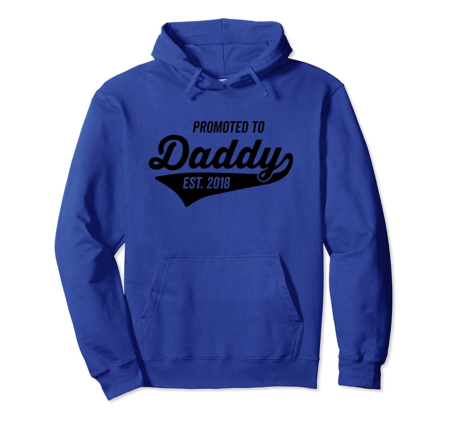 Promoted to Daddy 2018 Retro Athletic Swoosh Hoodie- TPT