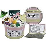 Jemsideas Kit de survie dans boîte métallique Survival Kit In A Can et carte de souhait pour futurs parents Couleur du contenant personnalisable