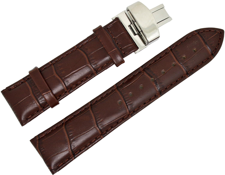 modebeso ( TM )ダークブラウン色18 mm Croco Genuine Calfレザー腕時計ウォッチバンドfor Men wb-010  B01MTPHQQK