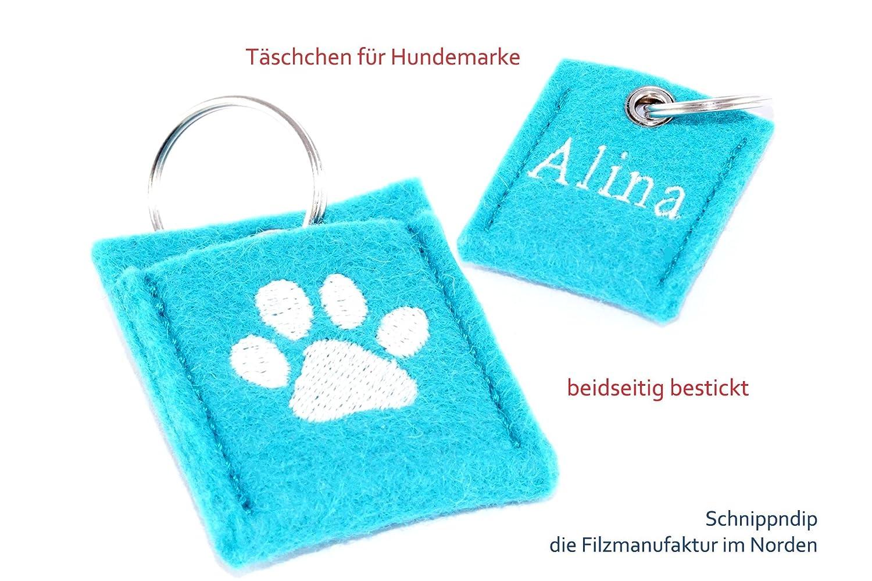 Täschchen für Hundemarke, Hundechip, Einkaufschip aus hochwertigem Wollfilz beidseitig bestickt mit einer Pfote und Deinem Wunschnamen