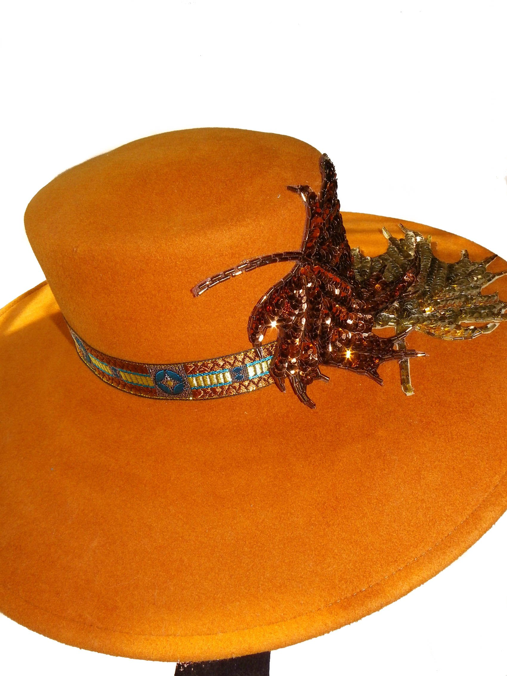 Style Of Individuality Wide Brim Wool Felt Hat In FALL'S Pumpkin, West's Turquoise, With Sparkles! by Style Of Individuality (Image #5)