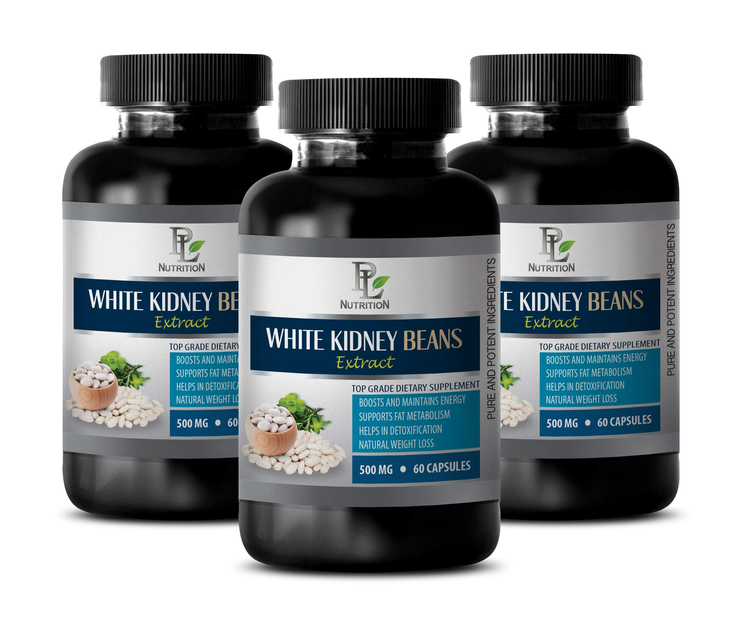 Appetite suppressant Men and Women - White Kidney Beans Extract 500MG - TOP Grade Dietary Supplement - Weight Loss Metabolism Booster for Women - 3 Bottles (180 Capsules)