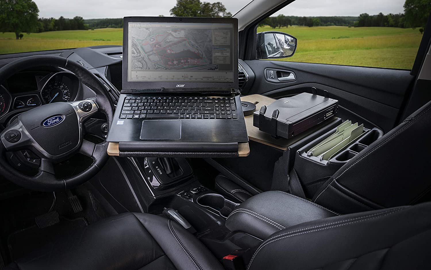 AutoExec AUE10346 Reach Front Seat Car Desk Mahogany with with Built-in Power Inverter and iPad//Tablet Mount