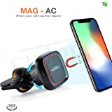 SILTREE 360 Degree Reusable AC Vent Magnetic Mobile Holder for Car Dashboard, Small (Black)