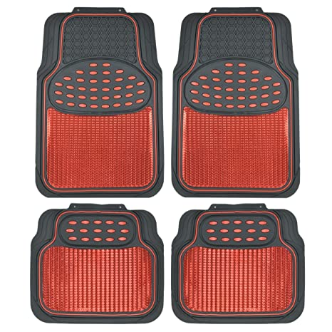 Amazon Com Bdk Mt614rdamw1 Metallic Rubber Floor Mats For Car Suv