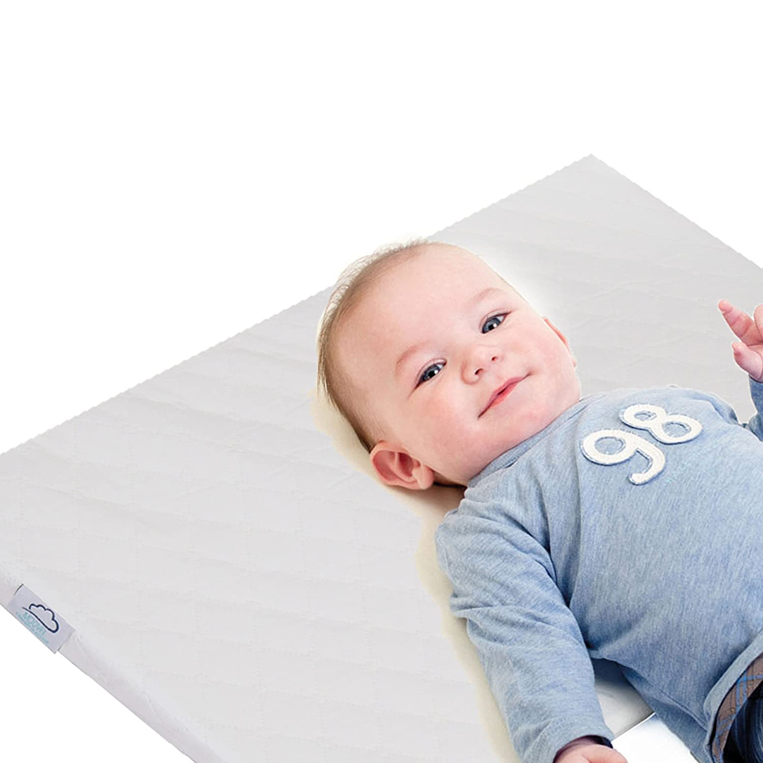 Modvel Crib Wedge Pillow – Sleep Positioner for Newborn Babies, Infants and Toddlers, Non-Slip Universal Fit with Baby Beds, Waterproof Removable Cover - with Anti-Skid Baby Socks (MV-127)