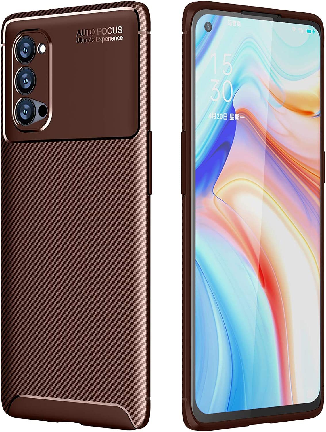 Silicone *Pull Up Tab Feature Suncase Case Compatible with Oppo Reno 4 Pro 5G with Additional Case Shell Bumper Mobile Phone Case Leather Protective Case in Antique Coffee
