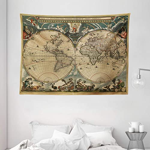 Ambesonne Vintage Tapestry, Dated Old Map of Ancient World Historic Geography Theme Antique Grungy Design Print, Wall Hanging for Bedroom Living Room Dorm, 80 W X 60 L Inches, Multicolor